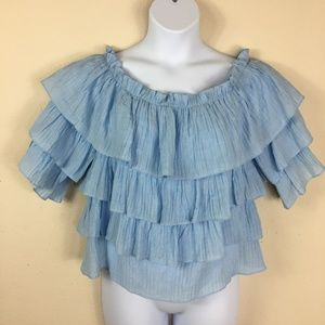 Sweet Wanderer Blue Ruffled Blouse Size Large